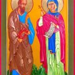 Икона апостола Павла и великомученицы Маргариты с частицами их мощей
